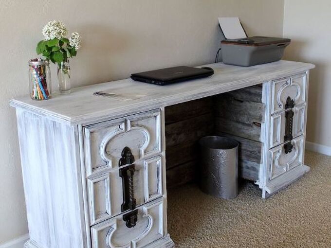 dresser to desk transformation, painted furniture, repurposing upcycling
