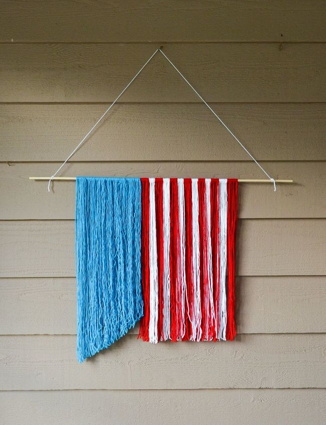 red white and blue yarn hanging, crafts, outdoor living, patriotic decor ideas, repurposing upcycling, seasonal holiday decor, wall decor