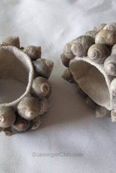 seashell napkin rings diy, crafts, dining room ideas, how to, repurposing upcycling