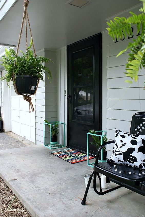 front porch makeover on a budget, curb appeal, decks, doors, outdoor furniture, outdoor living, painted furniture, porches