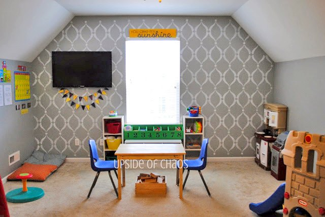 having fun with stencils in a playroom makeover, entertainment rec rooms, painting, wall decor