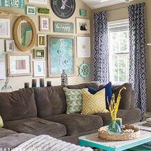 massive gallery wall, crafts, living room ideas, repurposing upcycling, wall decor