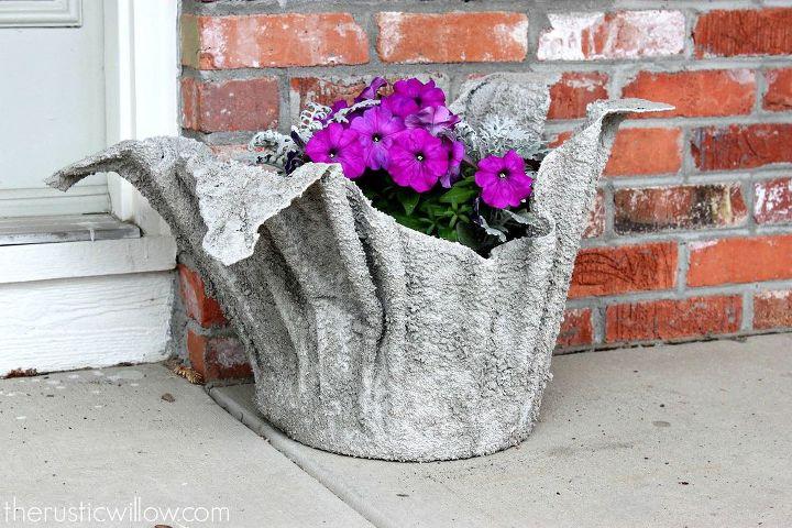 easy diy concrete planter, concrete masonry, container gardening, flowers, gardening