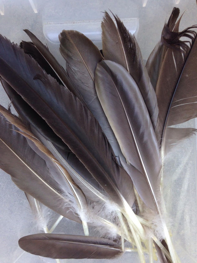 easy diy feather sculptures made with concrete, concrete masonry, crafts, how to, repurposing upcycling