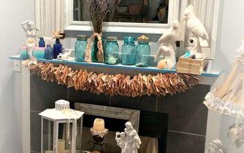 seaside mantle, fireplaces mantels, living room ideas, mason jars, repurposing upcycling