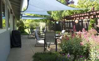 adding shade outdoors with triangular nylon shade sails, outdoor living, patio, repurposing upcycling