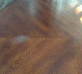 Top Of Chipped, Scorched Laminate Table