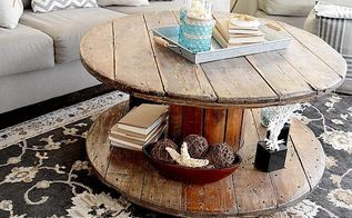 weathered spool coffee table, painted furniture, repurposing upcycling