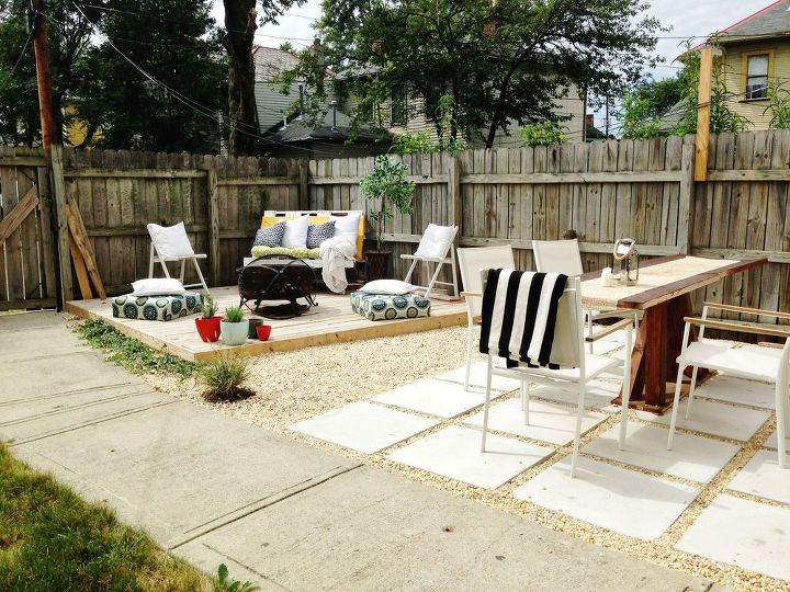 Diy budget backyard and deck makeover hometalk for Cheap backyard makeover ideas