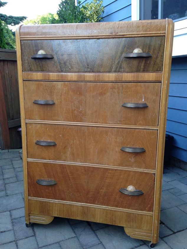 vintage waterfall dresser makeover, painted furniture, repurposing upcycling