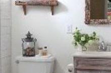 tiny bathroom makeover before and after, bathroom ideas, chalk paint, diy, home improvement, painting, small bathroom ideas, wall decor