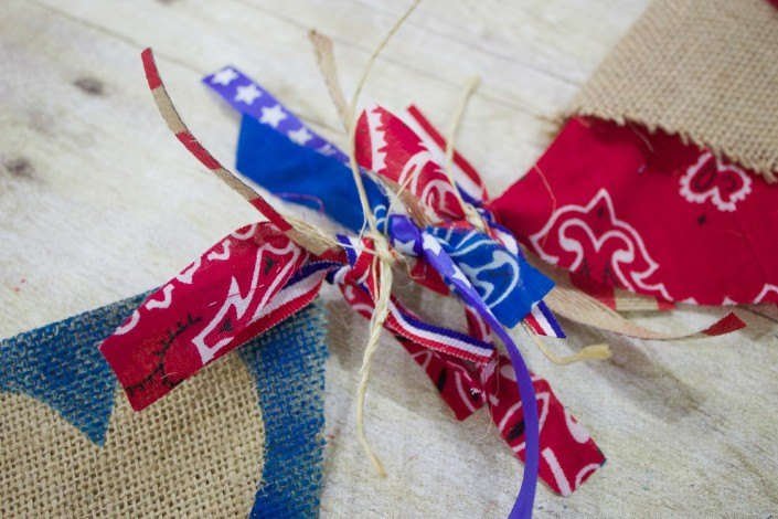 repurposed bandanas to unique no sew july 4th banner, crafts, how to, patriotic decor ideas, repurposing upcycling, seasonal holiday decor