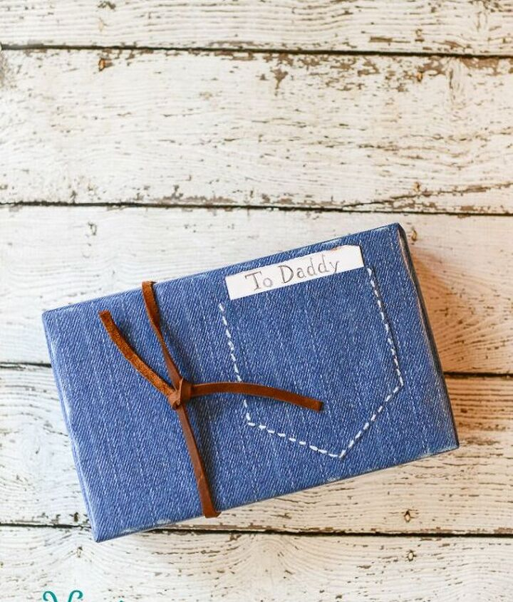 father s day denim gift wrapping, crafts, how to, seasonal holiday decor