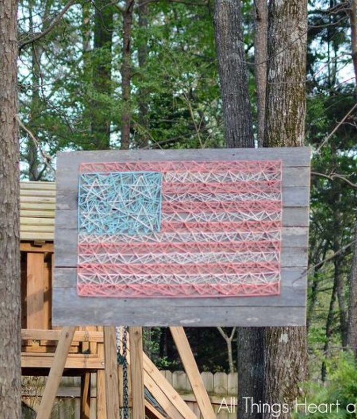 string art flag on pallet wood, crafts, how to, pallet, patriotic decor ideas, repurposing upcycling, seasonal holiday decor