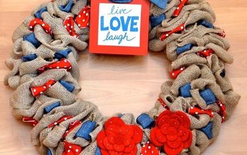 red white and blue burlap wreath, crafts, how to, patriotic decor ideas, seasonal holiday decor, wreaths
