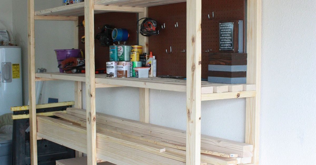 diy garage storage shelves easy diy garage shelving hometalk 14894