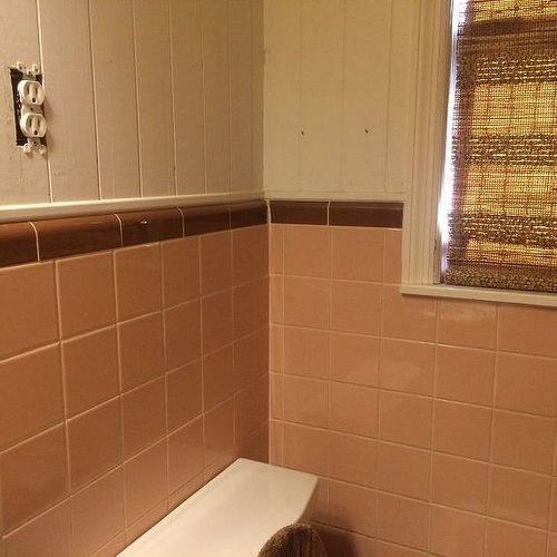 bathroom paint and tile ideas can my 50 s pink tiled bathroom be painted hometalk 23016