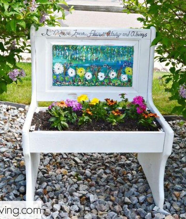 repurposed bench turned pretty planter, container gardening, flowers, gardening, painted furniture, repurposing upcycling