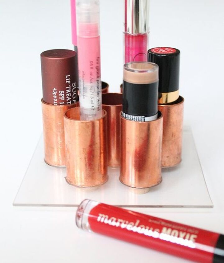 diy lipstick holder using copper tubes, crafts, how to, organizing, repurposing upcycling