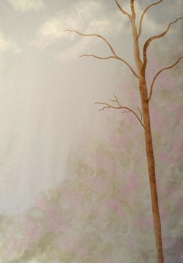 how to turn a bare wall in to a tree mural with a stencil hometalk