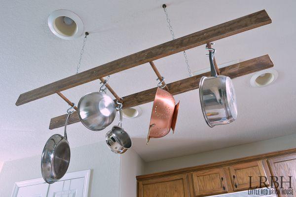 diy ladder pot rack, how to, kitchen design, organizing, repurposing upcycling, storage ideas