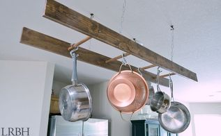 diy ladder pot rack, how to, kitchen design, organizing, repurposing upcycling, storage ideas