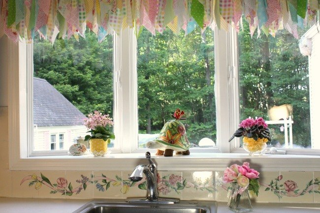 kitchen window treatment with a tension rod, kitchen design, window  treatments, windows,. Bay window