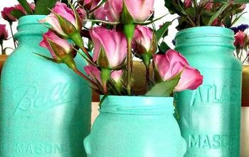 beach glass painted jars, crafts, flowers, mason jars, repurposing upcycling