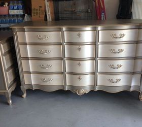 Metallic Two Toned Dresser And Side Table, Painted Furniture