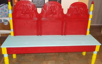 headboard bench, outdoor furniture, painted furniture, repurposing upcycling