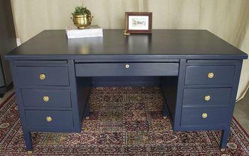Desk Makeover in Navy Blue