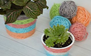 kool aid dyed yarn recycled plant pot, crafts, how to, repurposing upcycling