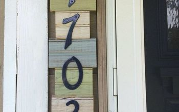 repurposed antique bead board to address wood sign, crafts, curb appeal, how to, outdoor living, painting, pallet, repurposing upcycling