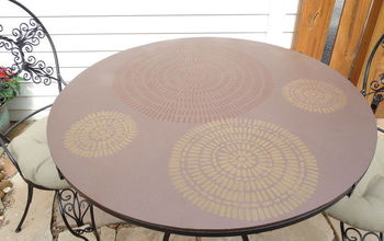 patio table makeover inspired by a cutting edge stencil, crafts, how to, outdoor furniture, outdoor living, painted furniture, patio