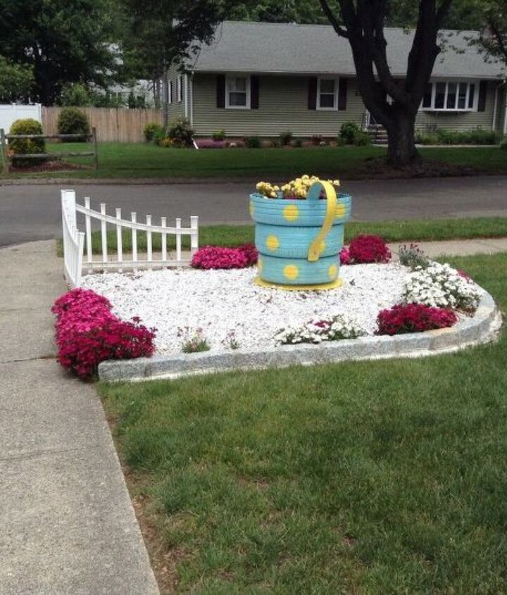recycled tires to garden planter, container gardening, flowers, gardening, repurposing upcycling