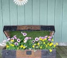 old family trunk into a beautiful planter, container gardening, gardening, how to, repurposing upcycling