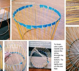 Diy Woven Basket From A Tomato Cage, Crafts, Diy, Home Decor, Step