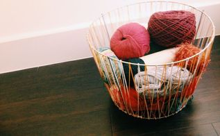 diy woven basket from a tomato cage, crafts, diy, home decor, Great for yarn storage