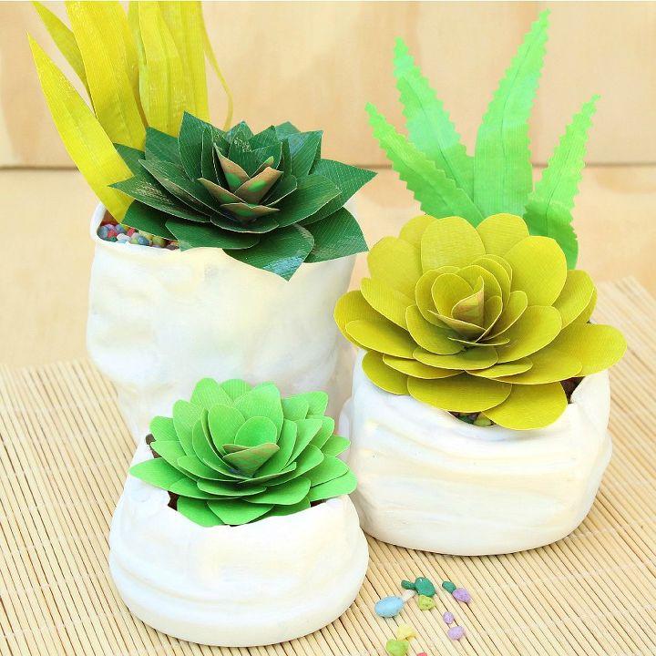duct tape succulents and faux pinch pots, crafts, diy, flowers, home decor, succulents