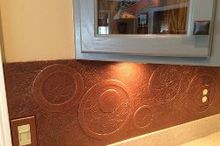 diy kitchen copper backsplash, decoupage, kitchen backsplash, kitchen design, repurposing upcycling