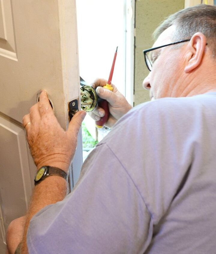 sprucing up entry door with paint and hardware, curb appeal, doors, painting, porches