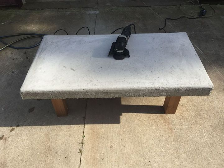 diy back yard coffee table top made of concrete with crushed wine bottles, concrete masonry, diy, how to, painted furniture
