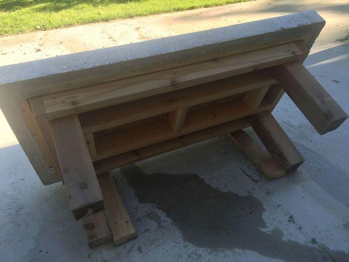 diy back yard coffee table top made of concrete with crushed wine bottles hometalk. Black Bedroom Furniture Sets. Home Design Ideas