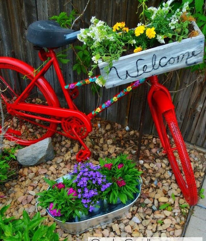 repurposed garden bike, container gardening, gardening, repurposing upcycling