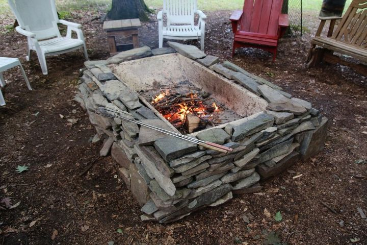 our homemade firepit from all repurposed materials, outdoor living