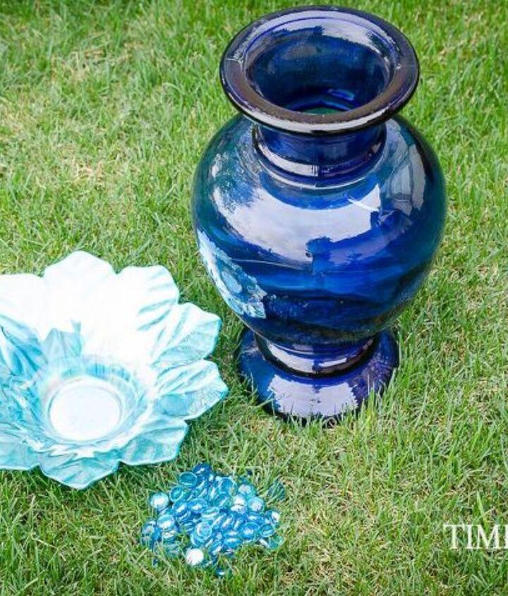 birdbath made from a deep cobalt blue vase, crafts, gardening, outdoor living, pets animals, repurposing upcycling