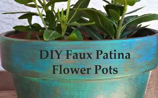 diy faux patina flower pots, container gardening, crafts, flowers, gardening