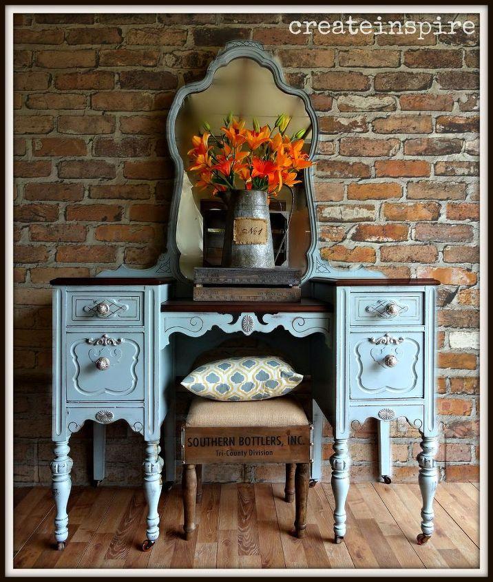 painted antique vanity in rhine river by benjamin moore, painted furniture, repurposing upcycling, rustic furniture
