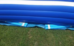 pool noodle hack to level pool, outdoor living, pool designs, repurposing upcycling