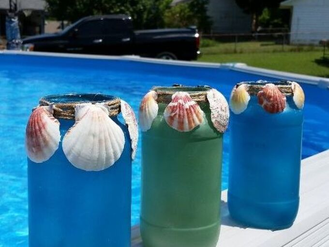 beach lights with shells and jars, crafts, how to, mason jars, repurposing upcycling, bad photo colors are really luminous